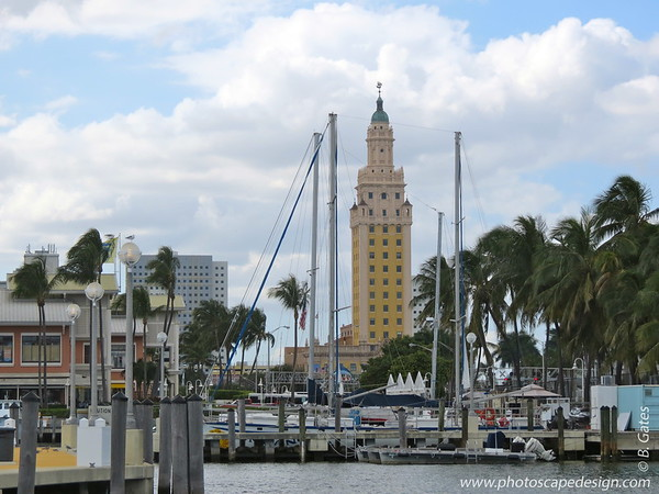 Freedom Tower - Dowtown Miami  Freedom Tower was built in the Mediterranean Revival style in 1925, when it housed the offices of the Miami News & Metropolis. It is said that it was inspired by the Giralda Tower in Seville, Spain. The cupola tower contained a beacon light to shine over the Miami Bay, which would have served the practical purpose of acting as a lighthouse while symbolically announcing the enlightenment brought by the Miami News & Metropolis to the rest of the world.  When the newspaper went out of business over 30 years later, the building lay vacant for some time. When the Castro regime came into power and political refugees flooded South Florida looking for a new start, the tower was taken over by the U.S. government to provide services to the immigrants. It contained in-processing services, basic medical and dental services, records on relatives already in the U.S. and relief aid for those starting a new life with nothing. For many thousands of immigrants, the tower provided nothing less than their freedom from Castro and the hardships Cuba had come to give them. It rightly earned its name then of Freedom Tower.  [Information found at About.com: Miami.]