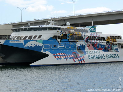 Balèaria Bahamas Express  Bahamas Express is a company dedicated to maritime transport, which offers fast ferry service between Port Everglades (Florida) and Freeport (Grand Bahama), which is owned mostly by the Spanish group Baleària and the local partner, the Capo group. The company is also working on opening a new line with Bimini Island.