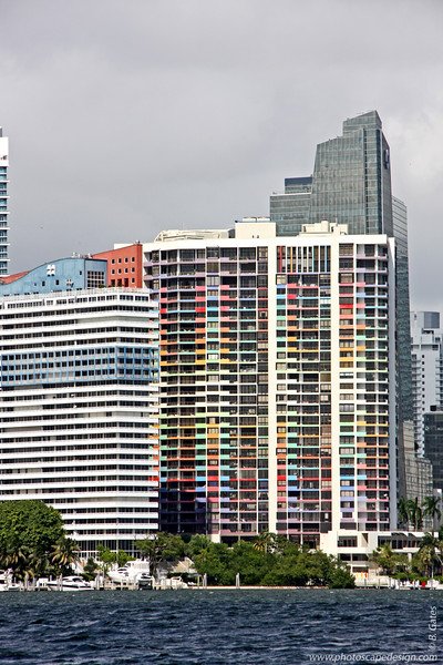 Villa Regina [colorful building in center] from the South Side of Rickenbacker Causeway [D]