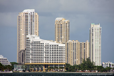 The Mandarin Oriental, Miami, on Brickell Key [center]  Photo taken from the south side of Rickenbacker Causeway. [D]
