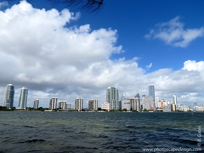 Brickell Avenue - Miami Skyline from the South Side of Rickenbacker Causeway