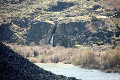 Perrine Coulee Falls - Twin Falls [D]  Perrine Coulee Falls is a 197 foot high single drop waterfall that tumbles into the Snake River Canyon along Perrine Coulee Creek located one half mile west of the Perrine Bridge [photos to follow] on U.S. Highway 93 between Jerome, Idaho and the town of Twin Falls, Idaho. Both the bridge [photos to follow] and waterfall where named for I.B. Perrine who founded the City of Twin Falls, Idaho in 1904.  The waterfall is actually a coulee (a dry stream valley, especially a long steep-sided gorge or ravine that once carried melt water from a glacier) that was used as part of the Twin Falls canal system after the 1905 Milner Dam was built about 40 miles upstream from where the Perrine Coulee falls into the canyon.The coulee always had mountain runoff water, but after 1905, it flowed much more with irrigation water.There is a road down into the canyon that originally was an Indian trail that ran behind the waterfall. Mr. I. B. Perrine widened the road in the late 1890s and ran a stage line from his home in the canyon up both sides of the canyon. Now the road goes in front of the waterfall and is wide enough for a two-car road.There is a park,  golf course, and water treatment plant in the canyon.