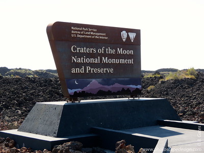 Craters of the Moon National Monument and Preserve - On the way to the Visitor Center . . . Craters of the Moon is a vast ocean of lava flows with scattered islands of cinder cones and sagebrush. Between 15,000 and 2,000 years ago, the Craters of the Moon Lava Field formed during eight major eruptive periods. During this time the Craters of the Moon lava field grew to cover 618 square miles. The Wapi and Kings Bowl lava fields formed contemporaneously about 2,200 years ago. Until the next eruption, ongoing -but subtle- changes continue to affect the geology of Craters of the Moon. These environmental factors include gravity, weather, as well as other natural and human caused effects on this volcanic landscape. For additional information, visit  National Park Service - Craters of the Moon website.
