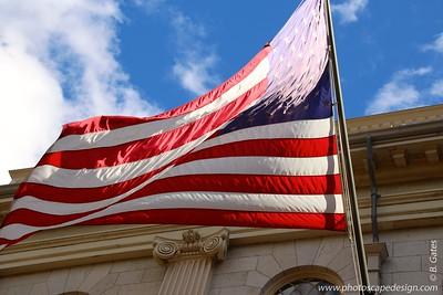 Flag flying from University Hall - Harvard University