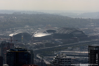 View from the Space Needle - Seattle (Sept 7, 2007) Safeco Field (Home of the Seattle Mariners) and Qwest Field (Home of the Seattle Seahawks)