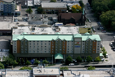 View from the Space Needle - Seattle (Sept 7, 2007) Our hotel :)