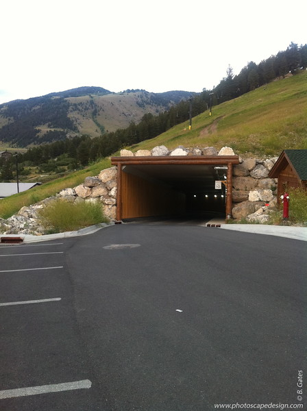 This tunnel goes through part of the mountain.  Jackson Hole, Wyoming