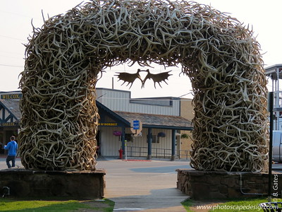 "Elk Antler Arch, one of four, in George Washington Memorial Park, which is located at the center of Jackson, Wyoming. More generally known as ""Town Square,"" the park is notable for its elk-antler arches at each corner of the park, collected from the nearby National Elk Refuge by Boy Scouts and periodically rebuilt. The square originally existed as an open space in the center of town that was made into a park in 1934. The area was used as a commons area by people and occasionally as a thoroughfare for migrating elk. Every fall, the Boy Scouts gather shed elk antlers from the nearby National Elk Refuge, and in the early days, the Rotary Club paid the  scouts 50 cents per antler. Now, the Rotary Club maintains the arches. The first  antler arch was built on the southeast corner of the square in 1953; the others were added in 1966, 1967, and 1969, respectively. After more than 50 years of wear and tear, the original antler arch was replaced in 2007 (the old arch sold at auction for $50,000 to a local businessman)."