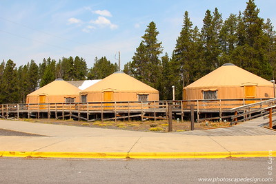 Warming huts at Old Faithful provide shelter for skiers, snowshoers, and snowmobilers.