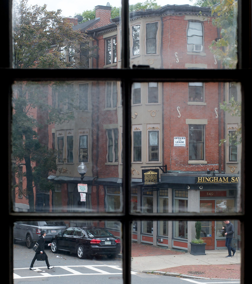 A window on Tremont Street offers an old world view from the Cyclorama at Boston Center for the Arts.<br /> <br /> October 9, 2012, photo by: Peter Smith
