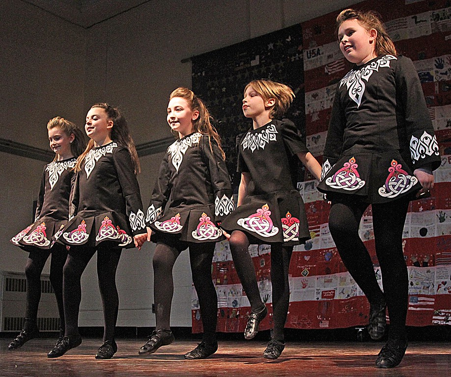 . Dancers from the Heavey-Quinn Academy of Irish Dance of Chelmsford on stage at the 6th Annual Harrington School Heritage Festival. SUN/ David H. Brow