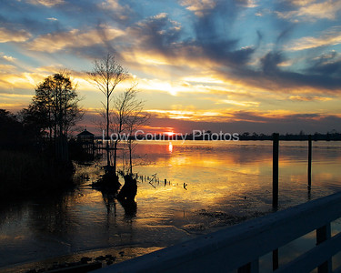 """Riverside Sunset""   MCL023 Heritage Plantation Marina Sunset - Pawleys Island, SC"