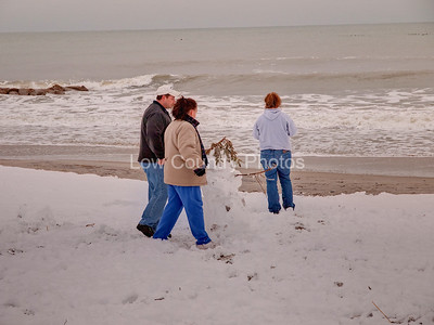 The snowman on the beach at Pawleys Island