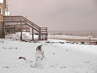 The snowman on the beach at Pawleys Island