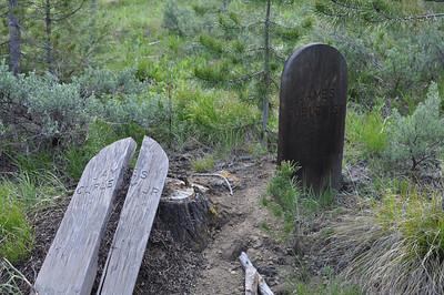 Grave at Bonanza City Cemetary, James Curley Jr & James Curley Sr, Bonanza City, Idaho. 6.18.11