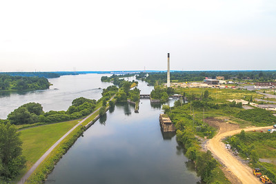 Old Cornwall Canal with Domtar Industrial Lands to the right & North Channel of the St. Lawrence River left