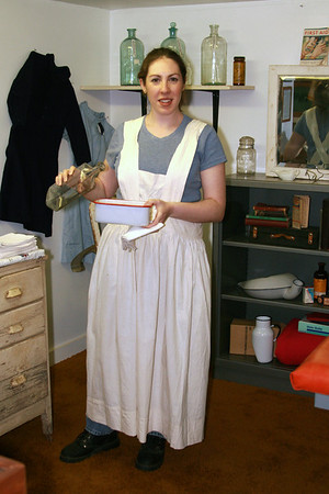 Jennifer Dobrowski Wearing Jessie's apron displayed at the Powder River Historical Museum Powder River Historical Museum Broadus, Montana May 2008  Also displayed at the museum is a collection of birth certificates that Jessie signed. The first one, dated Oct. 6, 1921, was for her grandson Floyd Janssen, born to William and Hallie Janssen.  Also included are ... 1923: John N. Russiff 1924: Richard John Janssen 1924: Howard Stanley Shoemaker 1924: John Maurice Janssen (grandson) 1924: Walter Henry Garris 1924: Anthony Murray 1925: Sylvia Angelina Kiser 1925: Donald Raymond McEachran 1925: Thomas Smokoff 1926: Phillys Jean Carter 1926: Lewis Charles Janssen (grandson) 1926: Richard William Kiser 1926: George P. Russiff 1926: Clyde LaVerne McEachran 1927: Milton Earl Benge 1928: Mary Alice Janssen 1928: Kenneth Franklin Carter 1928: James David Carter 1928: James Pete Russiff  Others yet to be listed ...