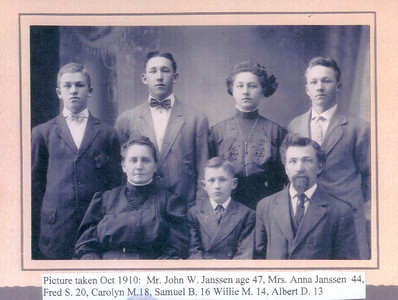 HISTORY of the COALWOOD, MONTANA POST OFFICE   John and Anna Janssen Family Rockwell City, Iowa October 1910  Back row, l to r:  William, Fred, Carrie, and Sam Front row:  Anna, Albert, and John W.