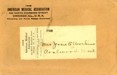 """5x7.75"""" Envelope with String-wrap Closure*   Jessie Warkins was a midwife/practical nurse. She delivered a great many of her grandchildren, as well as those of her Coalwood neighbors.   *Since it is not postmarked, and had a string-wrap closure, this was probably sent inside a larger parcel or envelope."""