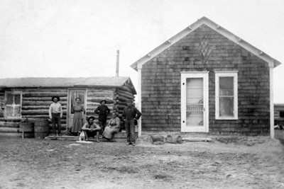 Second & Third Janssen Homes in Montana Circa 1911 (See frame of Fred Janssen home to see how this old house grew in coming years)   L to r: Sam, Carrie, Fred (seated), Albert (standing), Anna, John W.   (NOTE: Presume that Bill took picture)