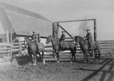 Stout Mounts: 1952  Uncle Lew, Granddad Bill and my father, John M. Janssen  The horses they are riding clearly show traces of the U.S. Cavalry Remount breeding program. Granddad raised horses for the military, delivering/trailing them to Fort Keogh near Miles City, Montana.  After the military market dried up, there was still a call for horses. I have a 1947 photo of my father, taken as he headed for Miles City with a herd. The note on the back indicates they were delivering them to a buyer in the South, that a lot of horses were going to the southern states.  Granddad Bill leased the ranch at Coalwood, along with the cattle, to Lew and Dad in 1946.