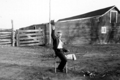Ride Him, Bill: circa 1954  Fanning a roping dummy at the Campbell Ranch on Powder River (my maternal grandparents' ranch)