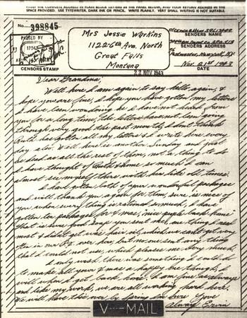 1943 Nov 22 V Mail
