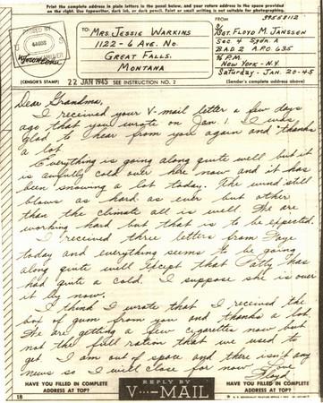 1945 Jan 22  V Mail