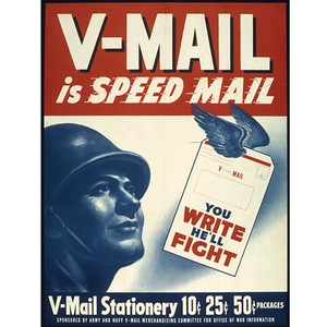 "Victory Mail, more commonly known as V-Mail, operated during World War II to expedite mail service for American armed forces overseas. Moving the rapidly expanding volume of wartime mail posed hefty problems for the Post Office, War, and Navy Departments. Officials sought to reduce the bulk and weight of letters, and found a model in the British Airgraph Service started in 1941 that microfilmed messages for dispatch.  V-Mail used standardized stationery and microfilm processing to produce lighter, smaller cargo. Space was made available for other war supplies and more letters could reach military personnel faster around the globe.  This new mode of messaging launched on June 15, 1942. V-Mail assisted with logistical issues while acknowledging the value of communication. In 41 months of operation, letter writers using the system helped provide a significant lifeline between the frontlines and home.   SOURCE:     http://www.postalmuseum.si.edu/victorymail/index.html  ~  ~  ~  How V-Mail Got from Sender to Recipient:     http://www.postalmuseum.si.edu/victorymail/operating/flipbook_flash.html  ~  ~  ~  View two-minute newsreel describing V-Mail,  ""New Service Speeds Mail to U.S. Troops, 1944,"" produced by the Office of War Information, SOURCE:   National Archives (208-UN-113):     http://www.postalmuseum.si.edu/victorymail/video/PostalMuseum.wmv  ~  ~  ~  IMAGE:     National Archives (44-PA-2251A) SOURCE:     http://www.postalmuseum.si.edu/victorymail/letter/photo6_index.html"