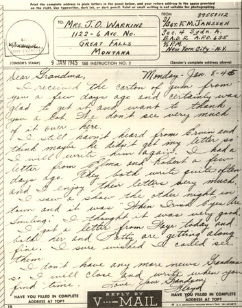 1945 Jan 9 V Mail