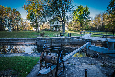 Poonamalie Lock:  The lock is sitting in the middle of a canal cut that bypasses a shallow meander of the Rideau River.