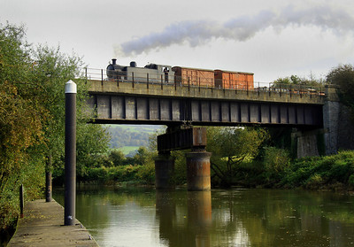 Hunslett 7151 heads over the River Avon with a goods train on 21 October, 2012.