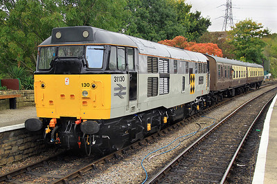 31130 stands at Bitton on 21 October with the 'local passenger' set.  The loco's BR Trainload Coal livery was refreshed prior to the Gala.
