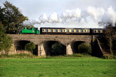 The line's Polish indutrial tank number 4015 crosses the threee-arch bridge en-rote to Bitton on 21 October.