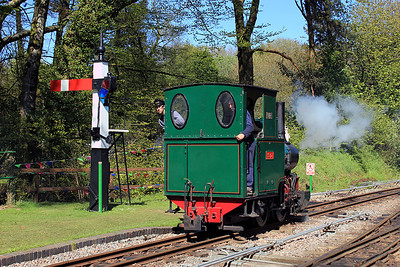 While driving the coast route from Ilfracombe to Minehead after visiting relatives, we decided to call in at the Lynton and Barnstaple Railway at Woody Bay, which was holding a steam gala. Proceedings were drawing to a close but I managed to capture the final train of weekend. Here, 0-4-0 'Sid' was moving from the shed area to join the 'WD'  with which it would double-head the train out towards Parracombe. 13/05/12
