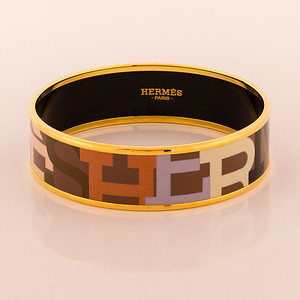 Bracelet Capitales - Wide PM - Brown  Enamel Gold Plated - NWOCTS - 1306051828