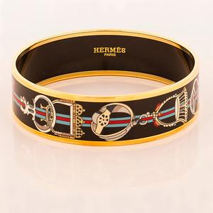 Bracelet Concours d Etrier - Wide PM - Black  - Enamel Gold Plated - NWOCTS - 1306041540