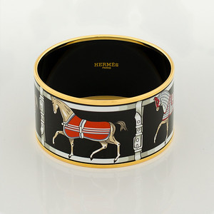 Bracelet Tenues et Couvertures 2 - Extra Wide PM - Black - Enamel Gold Plated - NWOCTS - 1306172347