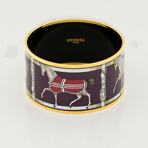 Bracelet Tenues et Couvertures 2 - Extra Wide PM - Violine - Enamel Gold Plated - NWOCTS - 1306181450