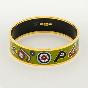 Bracelet Tohu Bohu - Wide GM - Kaki - Enamel Gold Plated - NWOCTS - 1306121653