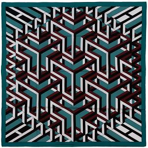 Carre Cube - Green Burgundy White Black NWOCT - 1411162329