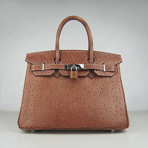 Birkins 30 brown ostrich silver hardware