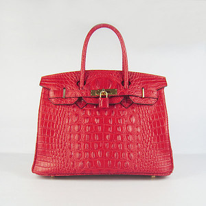Birkin 30CM Crocodile Head Veins red 6088 Gold