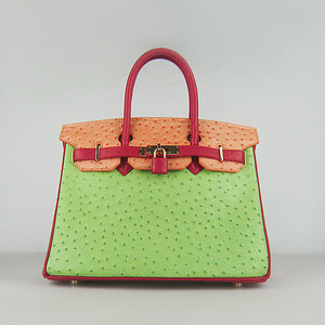 Birkin 30CM Ostrich Red-Orange-Green 6088 Gold