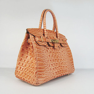 Birkin 30CM Crocodile Head Veins Orange 6088 Gold