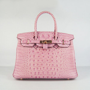 Birkins 30CM Crocodile Head Veins Pink 6088 Gold