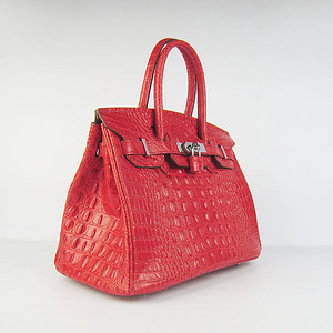 Birkin 30CM Crocodile Head Veins red 6088 silver
