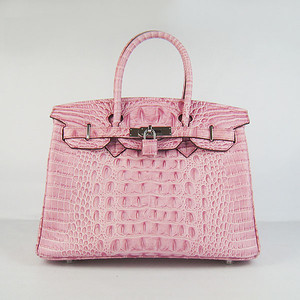 Birkins 30CM Crocodile Head Veins Pink 6088 silver