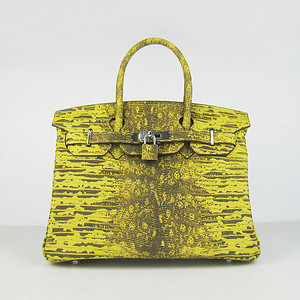 Birkin 30CM Lizard yellow silver hardware