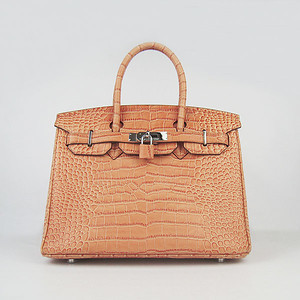 Birkin 30CM Crocodile Head Veins Orange 6088 silver